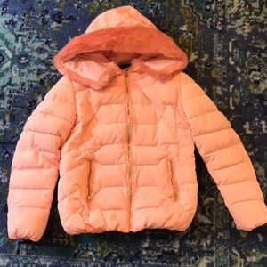 Pink puffer winter coat